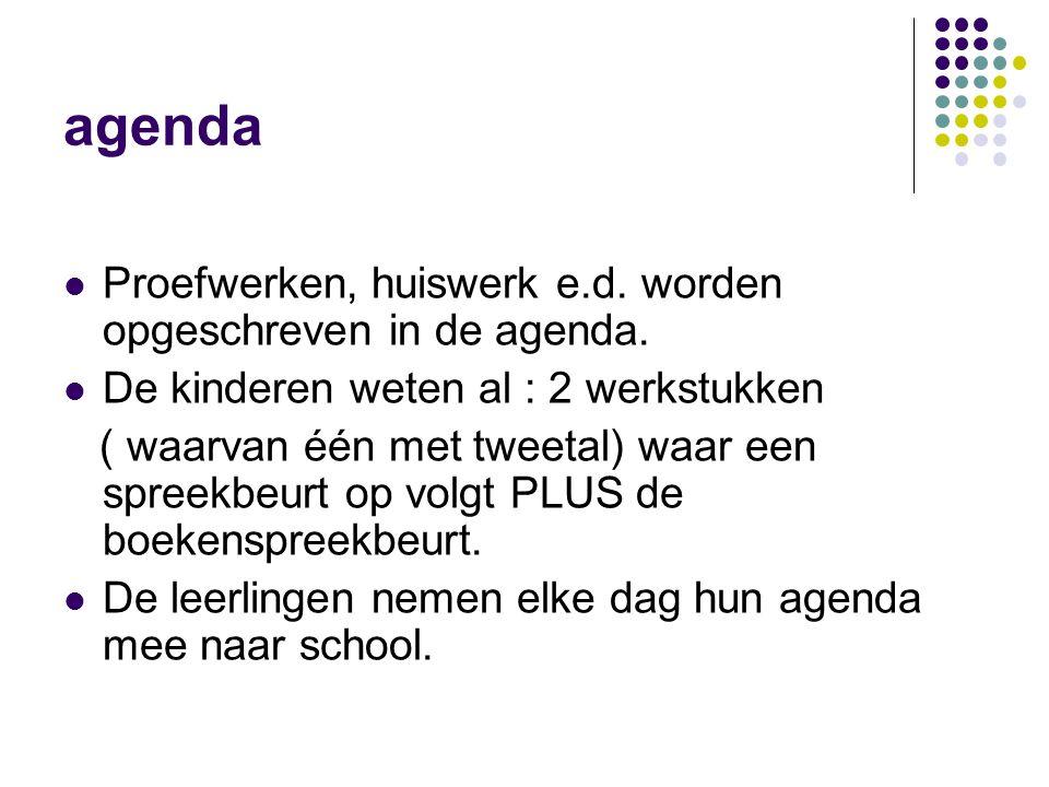 agenda  Proefwerken, huiswerk e.d.worden opgeschreven in de agenda.