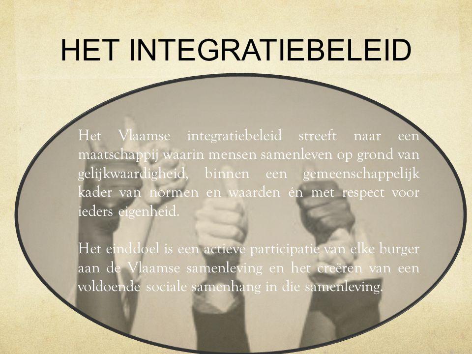 HET INTEGRATIEBELEID Het Vlaamse integratiebeleid streeft naar een maatschappij waarin mensen samenleven op grond van gelijkwaardigheid, binnen een ge