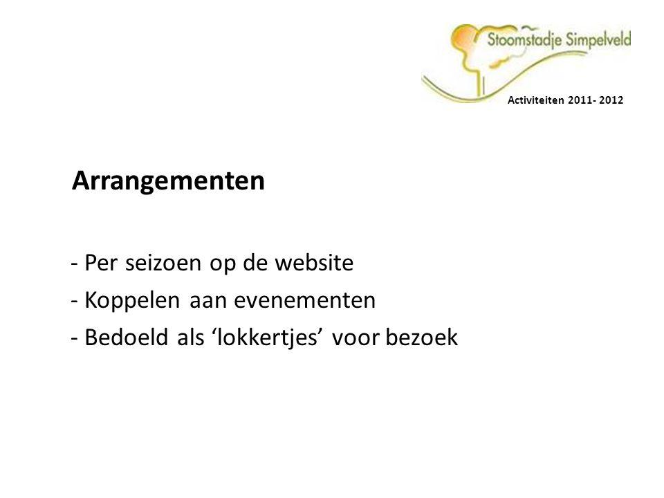 Arrangementen - Per seizoen op de website - Koppelen aan evenementen - Bedoeld als 'lokkertjes' voor bezoek