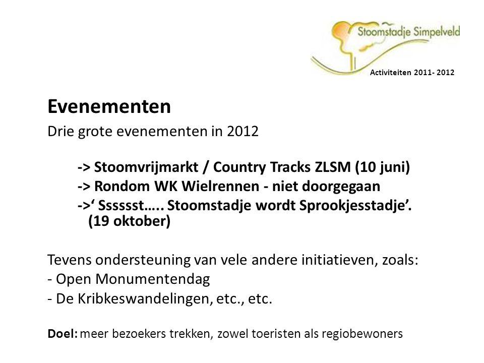 Activiteiten 2011- 2012 Evenementen Drie grote evenementen in 2012 -> Stoomvrijmarkt / Country Tracks ZLSM (10 juni) -> Rondom WK Wielrennen - niet doorgegaan ->' Sssssst…..