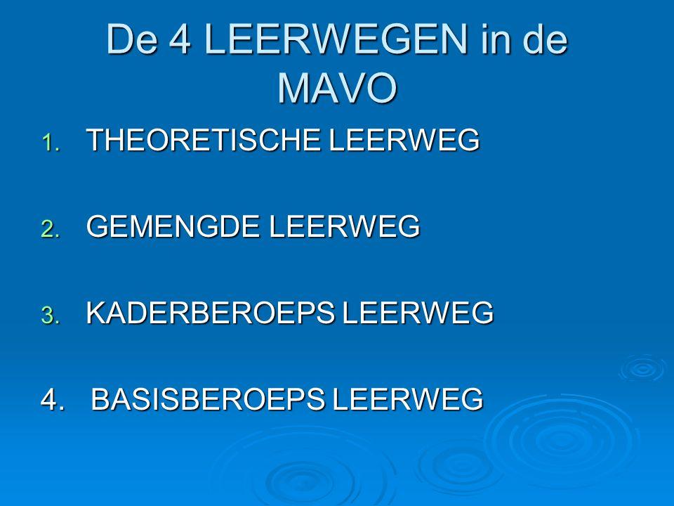 De 4 LEERWEGEN in de MAVO 1. THEORETISCHE LEERWEG 2. GEMENGDE LEERWEG 3. KADERBEROEPS LEERWEG 4. BASISBEROEPS LEERWEG