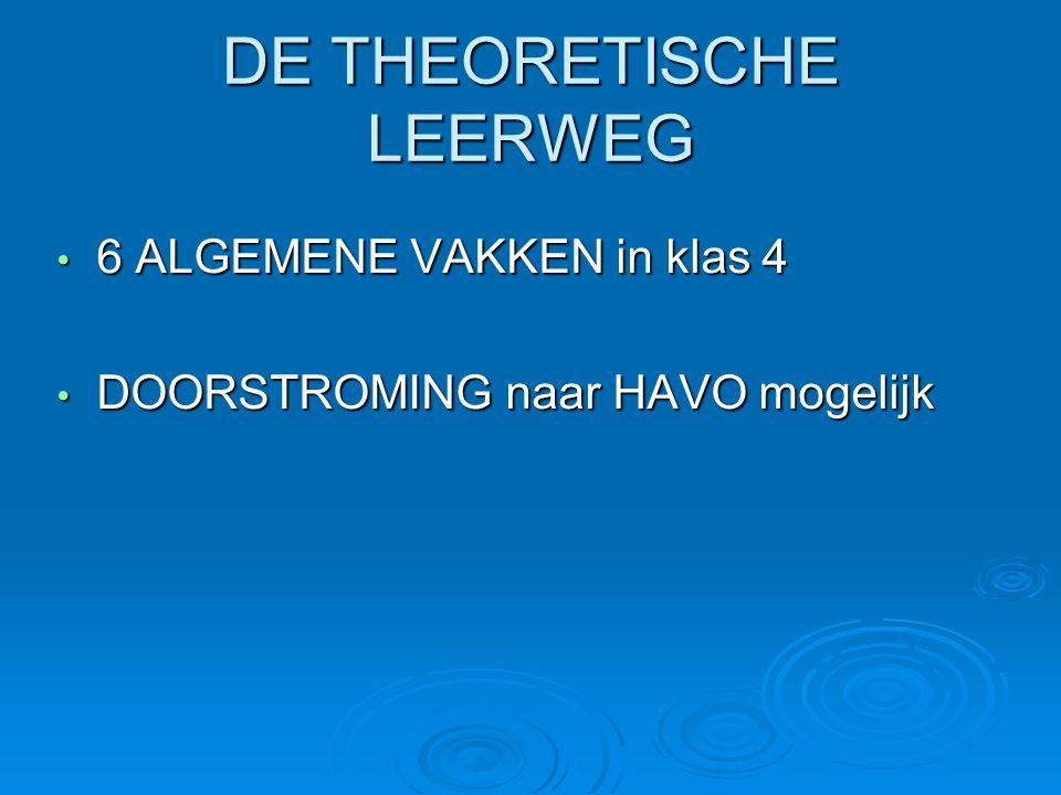 DE THEORETISCHE LEERWEG • 6 ALGEMENE VAKKEN in klas 4 • DOORSTROMING naar HAVO mogelijk