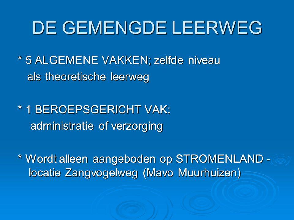 DE KADERBEROEPS LEERWEG * 4 ALGEMENE VAKKEN * 1 beroepsvak • Wordt aangeboden op VAKCOLLEGE (was Stromenland ) Liendertseweg (zorg, verzorging, admin.) Liendertseweg (zorg, verzorging, admin.) Hooglandseweg (techniek en horeca) Hooglandseweg (techniek en horeca)