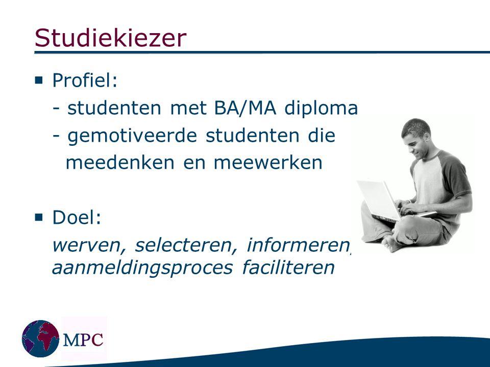 Studiekiezer  Profiel: - studenten met BA/MA diploma - gemotiveerde studenten die meedenken en meewerken  Doel: werven, selecteren, informeren, aanm