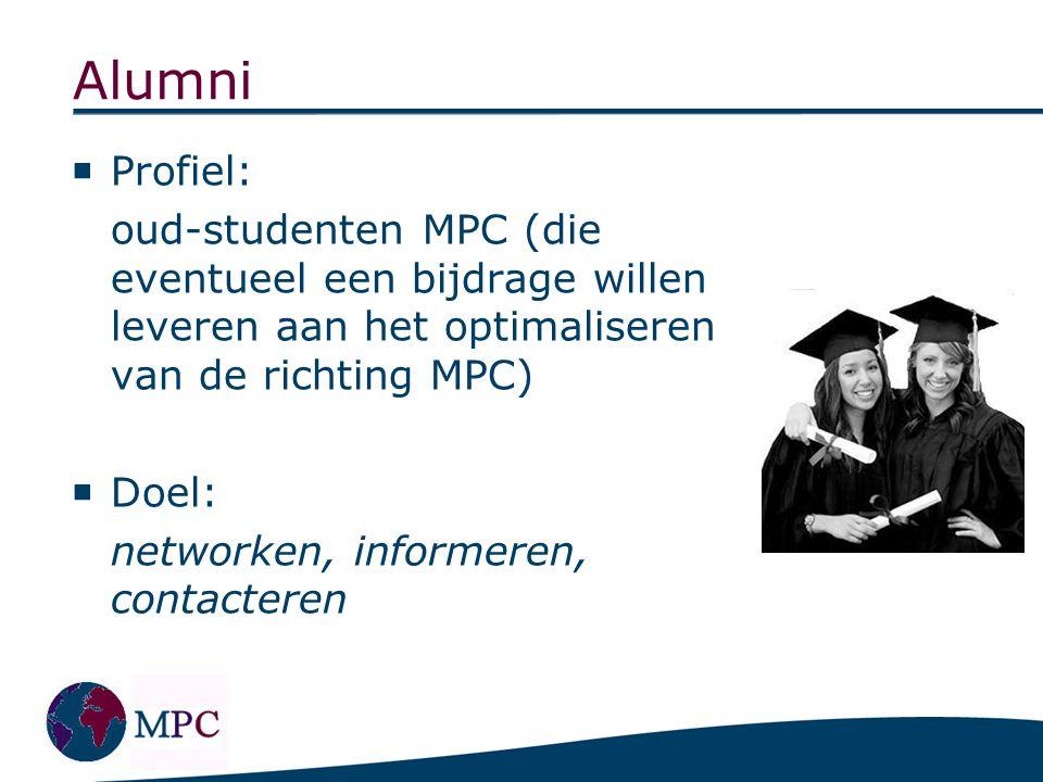 Alumni  Profiel: oud-studenten MPC (die eventueel een bijdrage willen leveren aan het optimaliseren van de richting MPC)  Doel: networken, informere