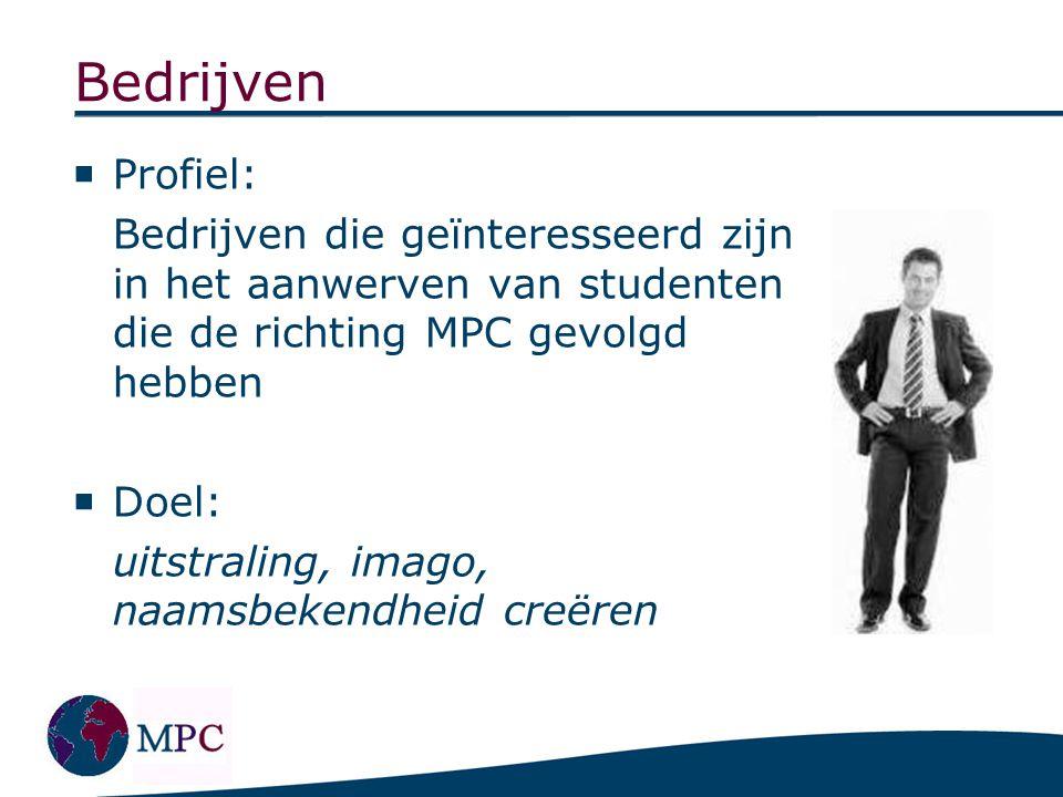 Bedrijven  Profiel: Bedrijven die geïnteresseerd zijn in het aanwerven van studenten die de richting MPC gevolgd hebben  Doel: uitstraling, imago, n