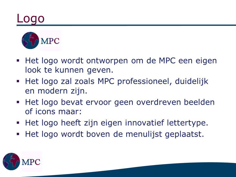 Logo  Het logo wordt ontworpen om de MPC een eigen look te kunnen geven.  Het logo zal zoals MPC professioneel, duidelijk en modern zijn.  Het logo