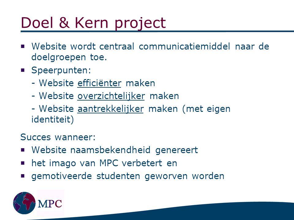 Doel & Kern project  Website wordt centraal communicatiemiddel naar de doelgroepen toe.  Speerpunten: - Website efficiënter maken - Website overzich