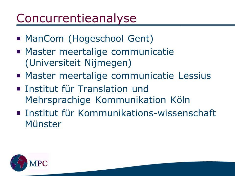 Concurrentieanalyse  ManCom (Hogeschool Gent)  Master meertalige communicatie (Universiteit Nijmegen)  Master meertalige communicatie Lessius  Ins