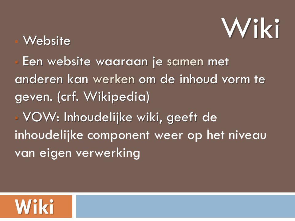 Website  Website  Een website waaraan je samen met anderen kan werken om de inhoud vorm te geven.