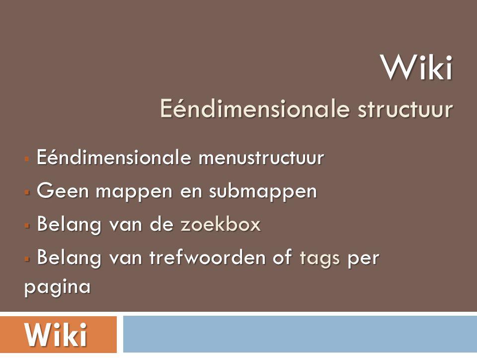 Eéndimensionale menustructuur  Eéndimensionale menustructuur  Geen mappen en submappen  Belang van de zoekbox  Belang van trefwoorden of tags per pagina Wiki Eéndimensionale structuur Wiki