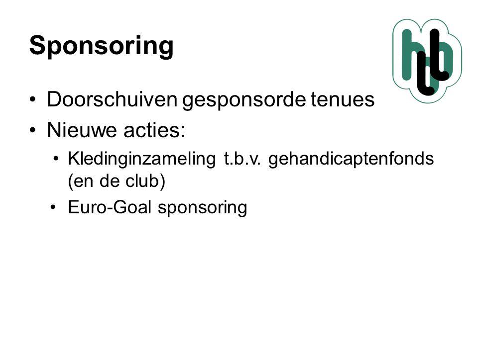 Sponsoring •Doorschuiven gesponsorde tenues •Nieuwe acties: •Kledinginzameling t.b.v. gehandicaptenfonds (en de club) •Euro-Goal sponsoring