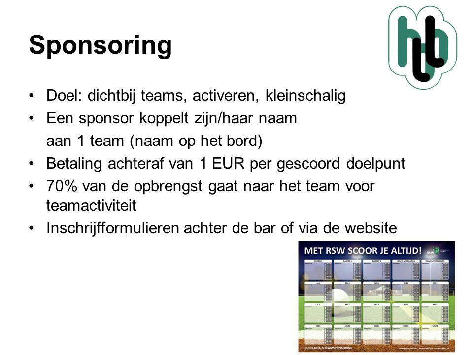 Sponsoring •Doel: dichtbij teams, activeren, kleinschalig •Een sponsor koppelt zijn/haar naam aan 1 team (naam op het bord) •Betaling achteraf van 1 E
