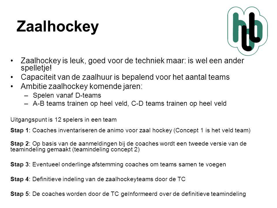 Zaalhockey •Zaalhockey is leuk, goed voor de techniek maar: is wel een ander spelletje! •Capaciteit van de zaalhuur is bepalend voor het aantal teams