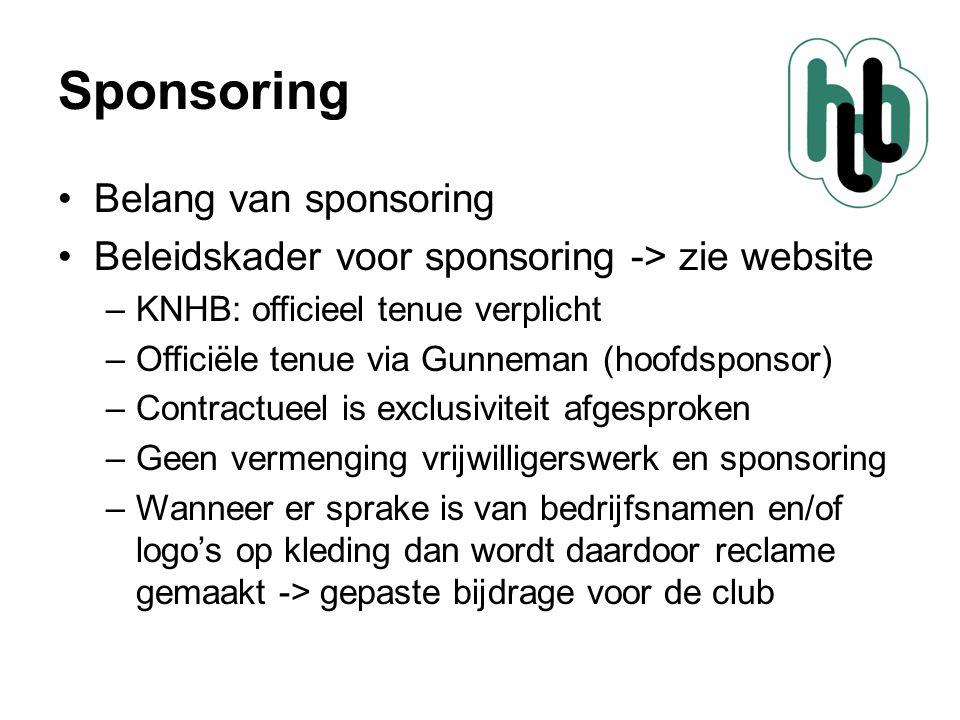 Sponsoring •Belang van sponsoring •Beleidskader voor sponsoring -> zie website –KNHB: officieel tenue verplicht –Officiële tenue via Gunneman (hoofdsp
