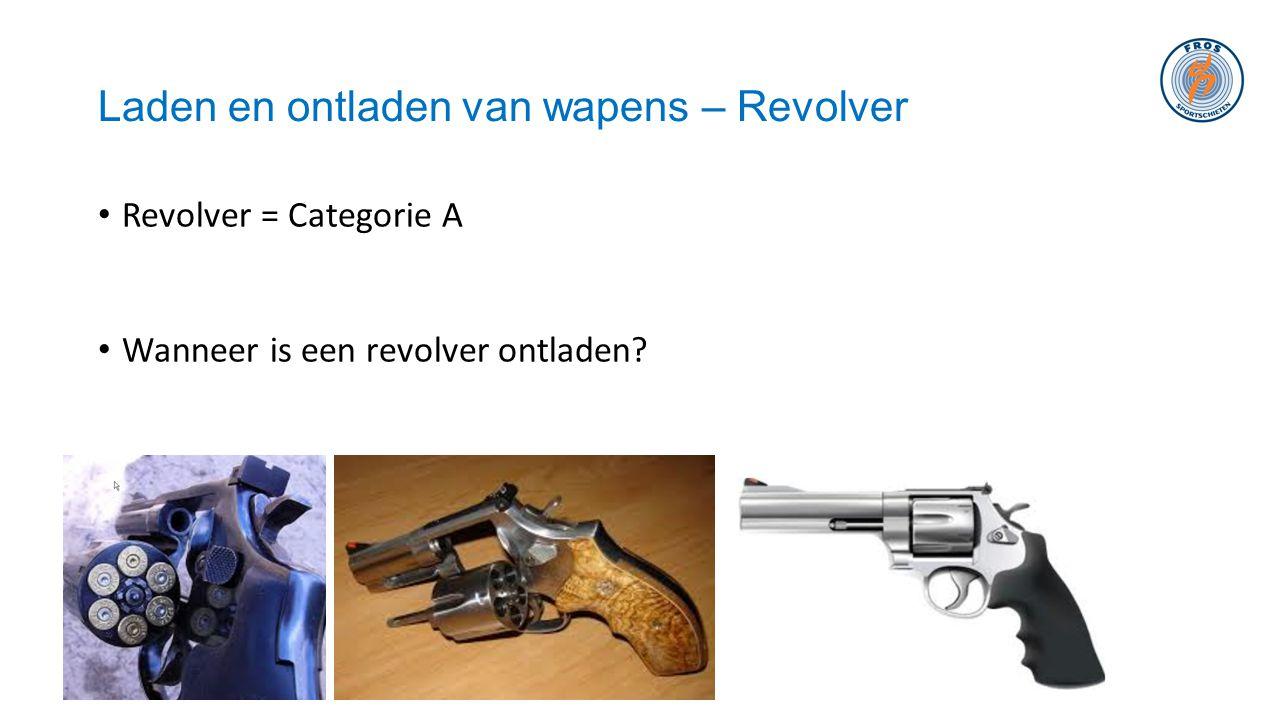 Laden en ontladen van wapens – Revolver • Revolver = Categorie A • Wanneer is een revolver ontladen?