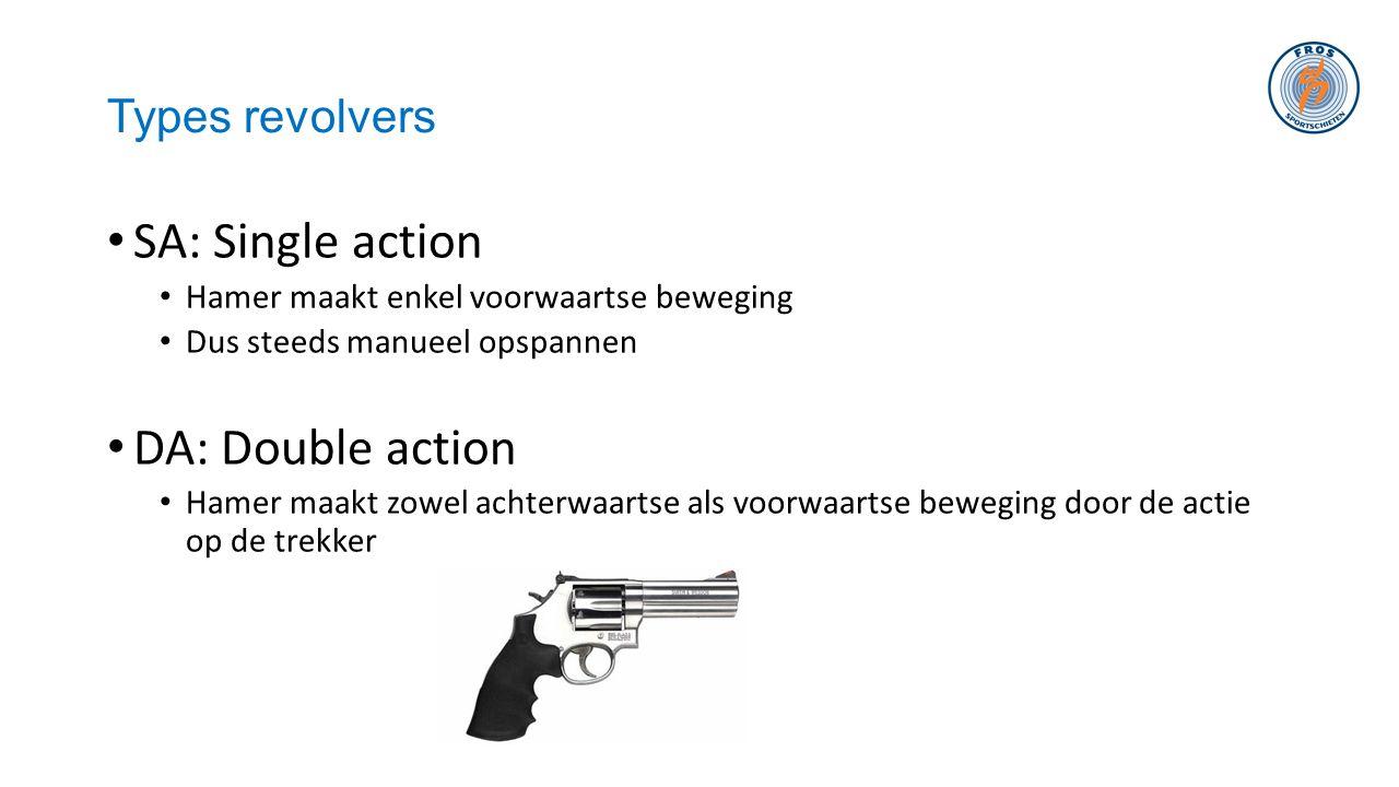 Types revolvers • SA: Single action • Hamer maakt enkel voorwaartse beweging • Dus steeds manueel opspannen • DA: Double action • Hamer maakt zowel ac