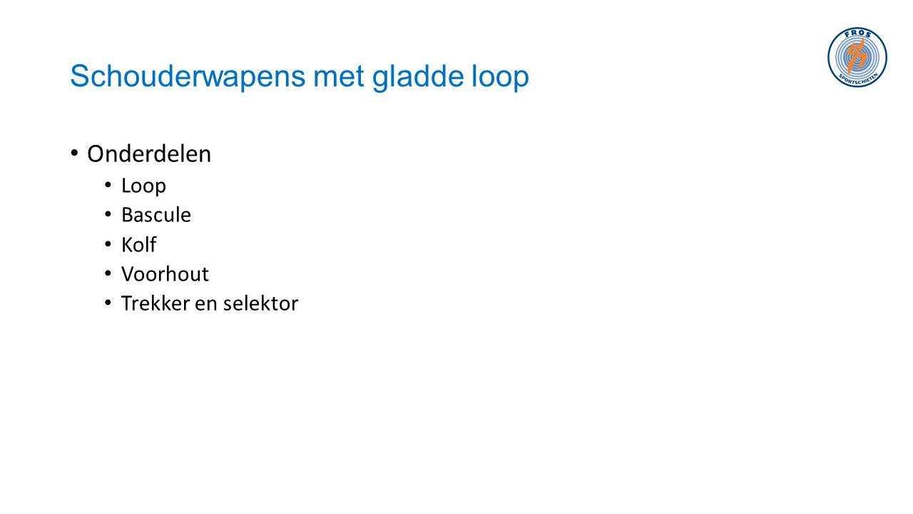 Schouderwapens met gladde loop • Onderdelen • Loop • Bascule • Kolf • Voorhout • Trekker en selektor