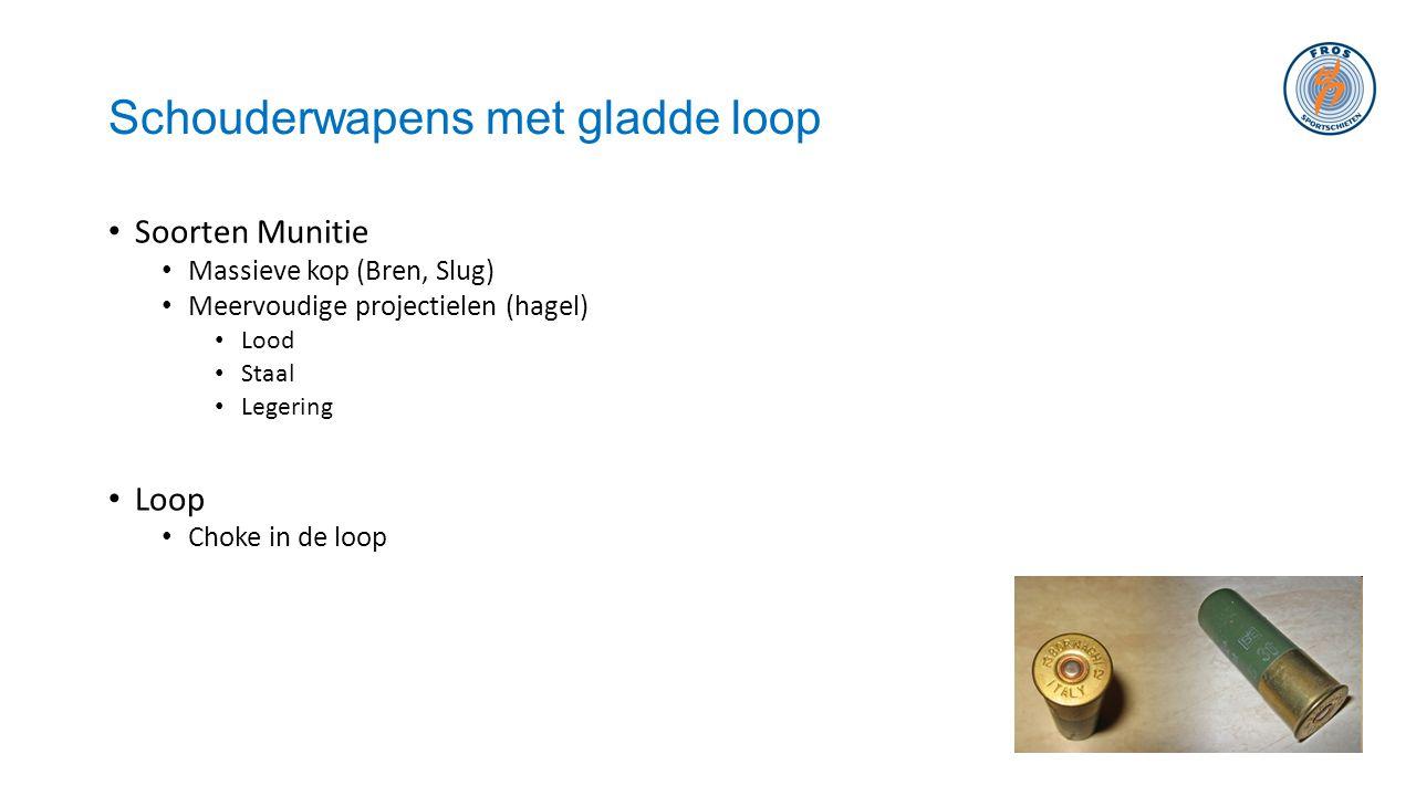 Schouderwapens met gladde loop • Soorten Munitie • Massieve kop (Bren, Slug) • Meervoudige projectielen (hagel) • Lood • Staal • Legering • Loop • Cho