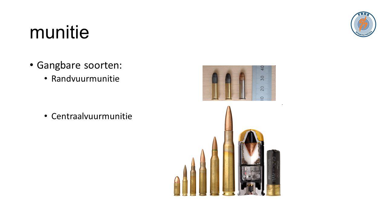 munitie • Gangbare soorten: • Randvuurmunitie • Centraalvuurmunitie