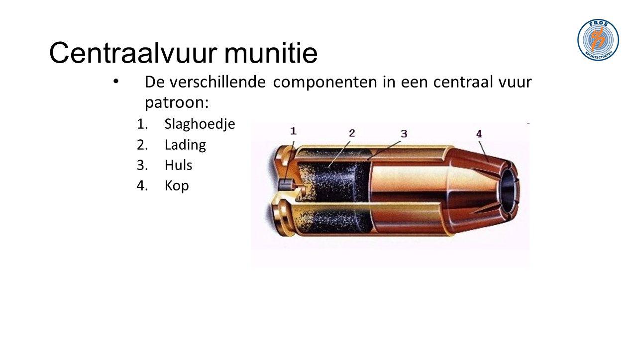 Centraalvuur munitie • De verschillende componenten in een centraal vuur patroon: 1.Slaghoedje 2.Lading 3.Huls 4.Kop