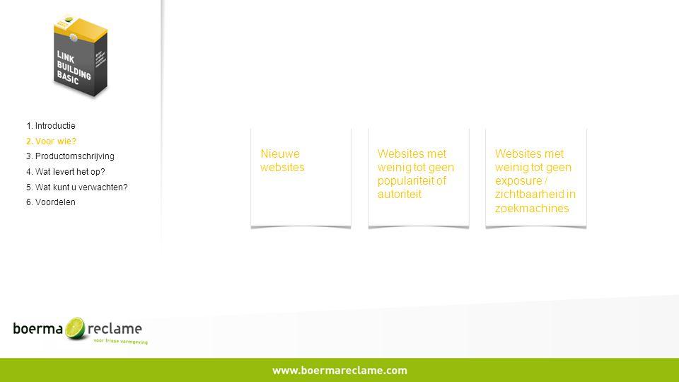 1. Introductie 2. Voor wie? 3. Productomschrijving 4. Wat levert het op? 5. Wat kunt u verwachten? 6. Voordelen Nieuwe websites Websites met weinig to