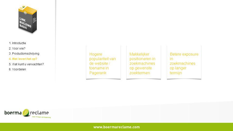 1. Introductie 2. Voor wie? 3. Productomschrijving 4. Wat levert het op? 5. Wat kunt u verwachten? 6. Voordelen Hogere populariteit van de website / t