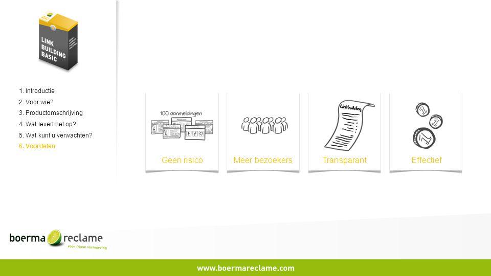 1. Introductie 2. Voor wie? 3. Productomschrijving 4. Wat levert het op? 5. Wat kunt u verwachten? 6. Voordelen Geen risicoMeer bezoekersTransparantEf