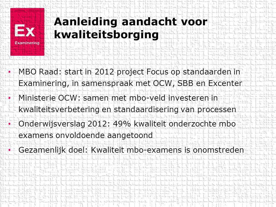 Aanleiding aandacht voor kwaliteitsborging • MBO Raad: start in 2012 project Focus op standaarden in Examinering, in samenspraak met OCW, SBB en Excen