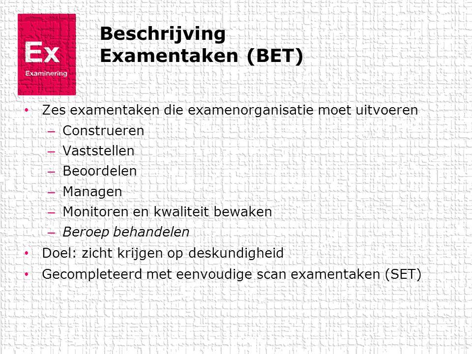 Beschrijving Examentaken (BET) • Zes examentaken die examenorganisatie moet uitvoeren – Construeren – Vaststellen – Beoordelen – Managen – Monitoren e