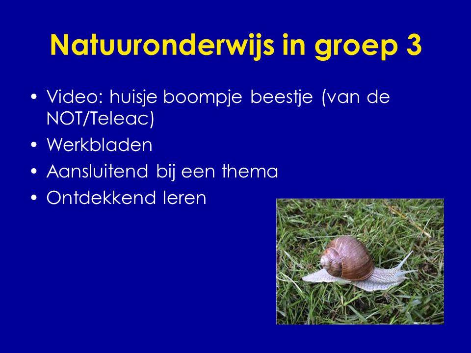 Natuuronderwijs in groep 3 •Video: huisje boompje beestje (van de NOT/Teleac) •Werkbladen •Aansluitend bij een thema •Ontdekkend leren