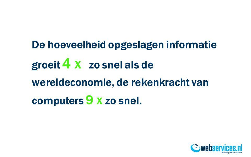 De hoeveelheid opgeslagen informatie groeit 4 x zo snel als de wereldeconomie, de rekenkracht van computers 9 x zo snel.