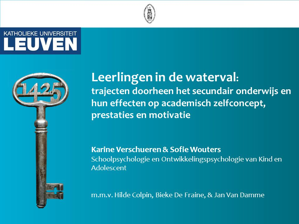 Leerlingen in de waterval : trajecten doorheen het secundair onderwijs en hun effecten op academisch zelfconcept, prestaties en motivatie Karine Versc