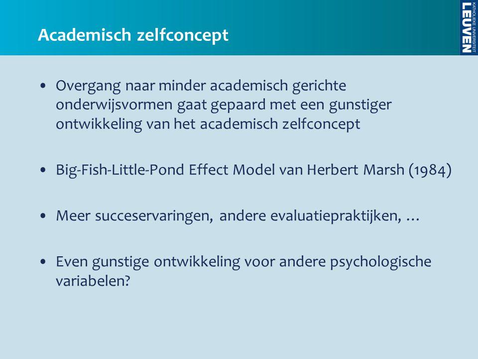 •Overgang naar minder academisch gerichte onderwijsvormen gaat gepaard met een gunstiger ontwikkeling van het academisch zelfconcept •Big-Fish-Little-