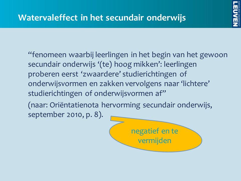 Illustratie: website Nederlandse taalunie De systematische overstap van een hoger naar een lager onderwijstype vindt zijn oorzaak in een foutieve perceptie van onderwijskwaliteit, van de maatschappelijke status van onderwijsvormen en van de mogelijkheden die de verschillende onderwijsvormen bieden.