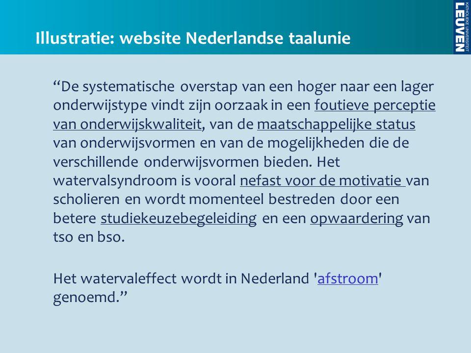 """Illustratie: website Nederlandse taalunie """"De systematische overstap van een hoger naar een lager onderwijstype vindt zijn oorzaak in een foutieve per"""