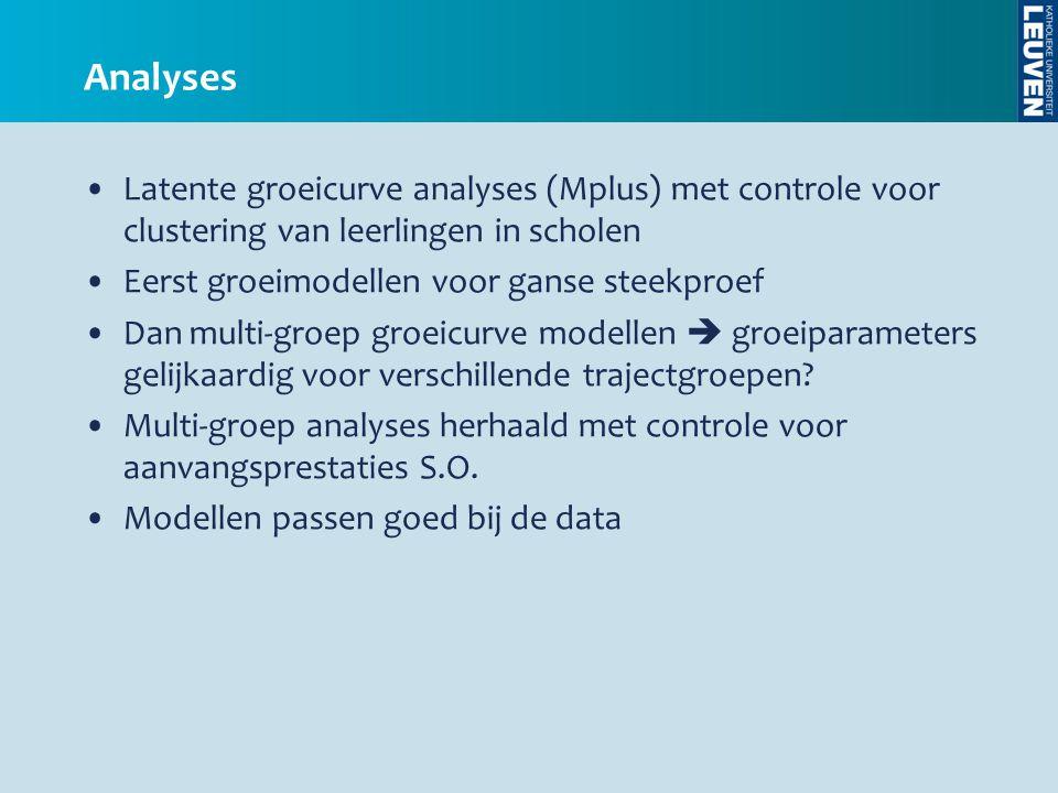 Analyses •Latente groeicurve analyses (Mplus) met controle voor clustering van leerlingen in scholen •Eerst groeimodellen voor ganse steekproef •Dan m