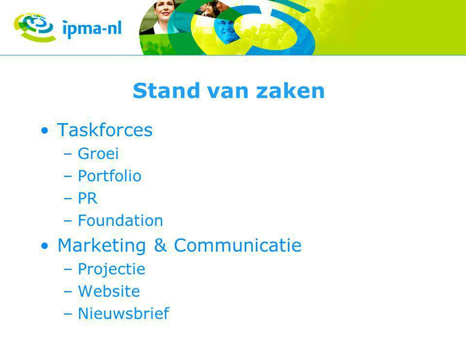 Stand van zaken •Taskforces –Groei –Portfolio –PR –Foundation •Marketing & Communicatie –Projectie –Website –Nieuwsbrief