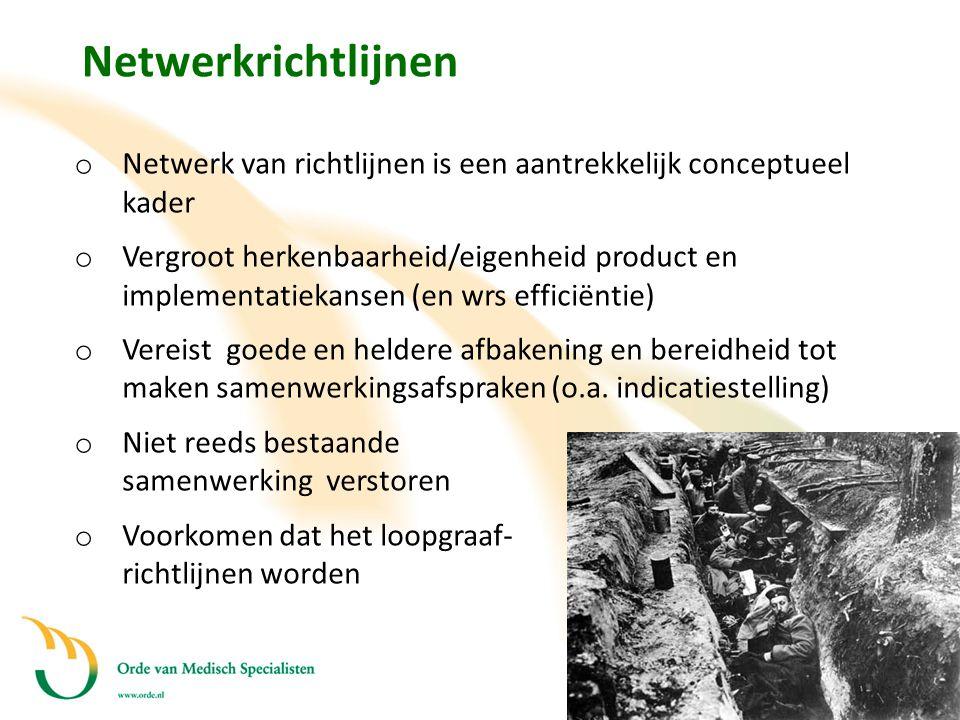 Netwerkrichtlijnen o Netwerk van richtlijnen is een aantrekkelijk conceptueel kader o Vergroot herkenbaarheid/eigenheid product en implementatiekansen