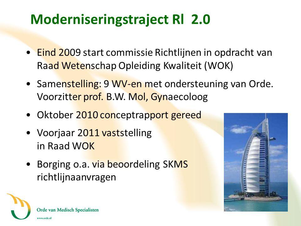 Moderniseringstraject Rl 2.0 •Eind 2009 start commissie Richtlijnen in opdracht van Raad Wetenschap Opleiding Kwaliteit (WOK) •Samenstelling: 9 WV-en