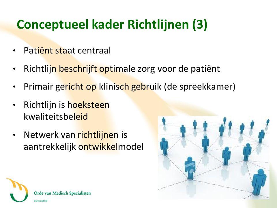 Conceptueel kader Richtlijnen (3) • Patiënt staat centraal • Richtlijn beschrijft optimale zorg voor de patiënt • Primair gericht op klinisch gebruik