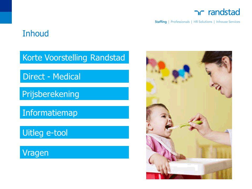 Inhoud Korte Voorstelling Randstad Direct - Medical Informatiemap Uitleg e-tool Vragen Prijsberekening