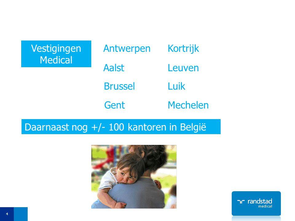 4 Vestigingen Medical Antwerpen Brussel Gent Aalst Kortrijk Leuven Luik Mechelen Daarnaast nog +/- 100 kantoren in België