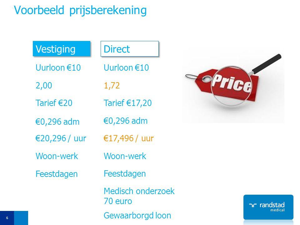 Voorbeeld prijsberekening 6 Vestiging Direct Uurloon €10 2,001,72 Tarief €20Tarief €17,20 €0,296 adm €20,296 / uur€17,496 / uur Woon-werk Feestdagen G