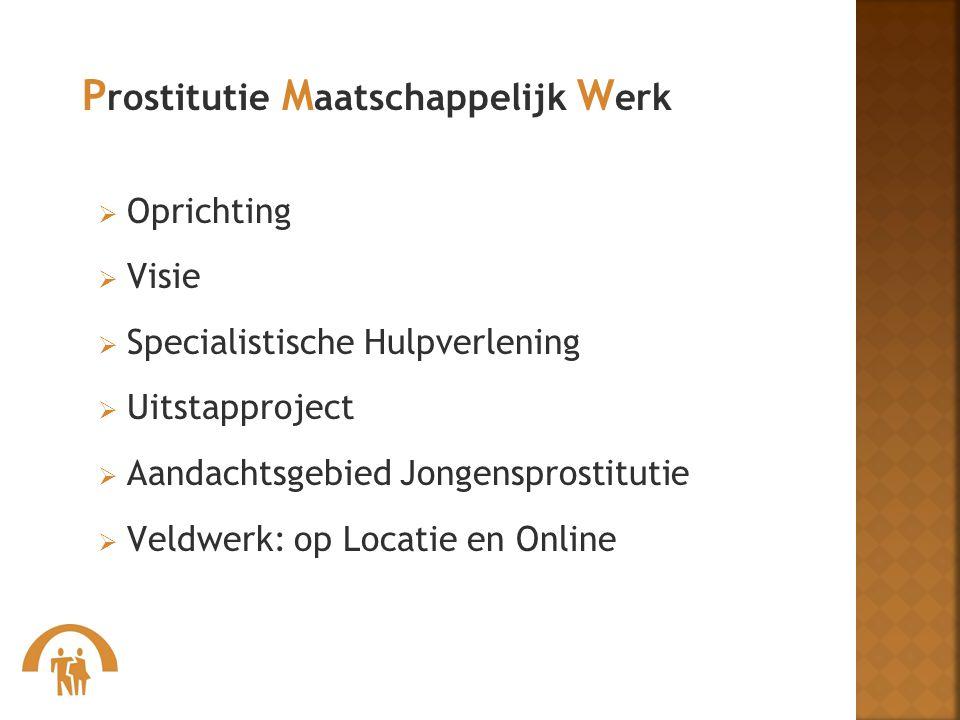 OOprichting VVisie SSpecialistische Hulpverlening UUitstapproject AAandachtsgebied Jongensprostitutie VVeldwerk: op Locatie en Online P ro