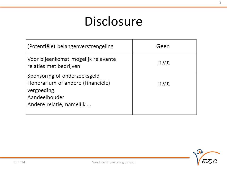 Disclosure juni 14Van Everdingen Zorgconsult 2 (Potentiële) belangenverstrengeling Geen Voor bijeenkomst mogelijk relevante relaties met bedrijven n.v.t.