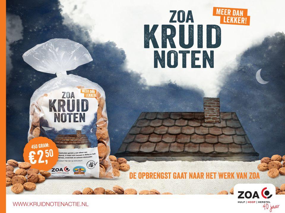 ZOA zorgt ervoor dat: Kinderen naar school kunnen Mensen schoon (drink)water hebben Er meer voedsel komt door landbouw projecten Ondersteun het werk van ZOA en koop kruidnoten
