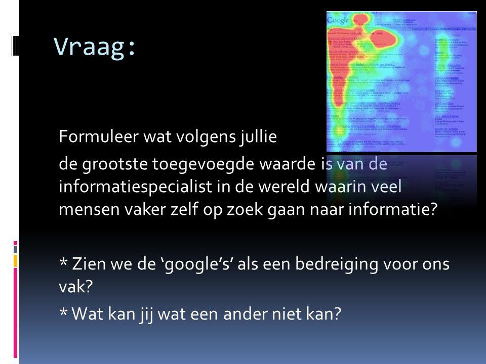 Vraag: Geef aan of er bepaalde activiteiten/ functies door de tegenwoordige zoekmachines van de informatiespecialist is afgekeken.