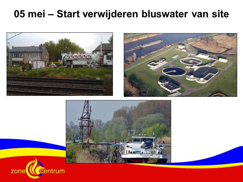 05 mei – Start verwijderen bluswater van site