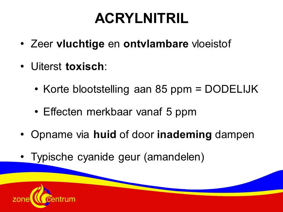 ACRYLNITRIL • Zeer vluchtige en ontvlambare vloeistof • Uiterst toxisch: • Korte blootstelling aan 85 ppm = DODELIJK • Effecten merkbaar vanaf 5 ppm • Opname via huid of door inademing dampen • Typische cyanide geur (amandelen)